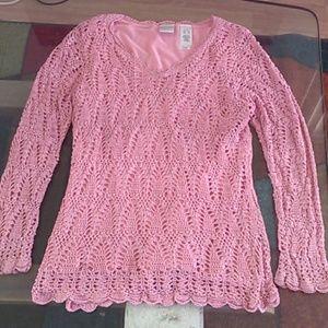 Pink Emma James crochet sweater